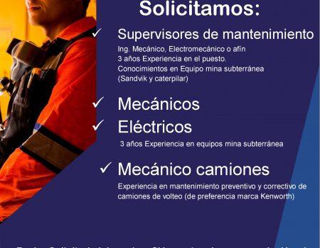 Supervisores de Mantenimiento, Eléctricos y Mecánicos de camiones.