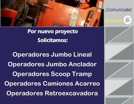 Operadores: Jumbo lineal, Anclador, Scoop Tramp, Camiones Acarreo, Retroexcavadora